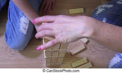 houten, dochter, spel, blokjes, moeder