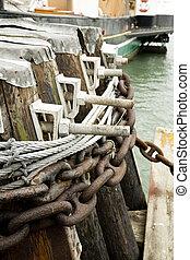 houten, dok, beveiligd, kettingen, scheeps