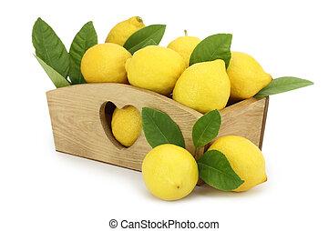 houten doos, volle, citroenen