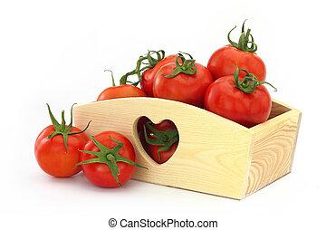 houten doos, volle, tomaten