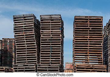 houten, drie, pallets, opperen