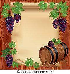 houten, druif, papierbord, achtergrond, vat
