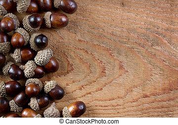 houten, eikels, achtergrond