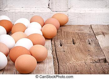 houten, eitjes, plank