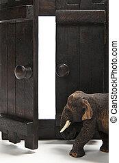 houten, elefant, deur, wandeling