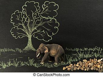 houten, elefant, een, bos, wandeling