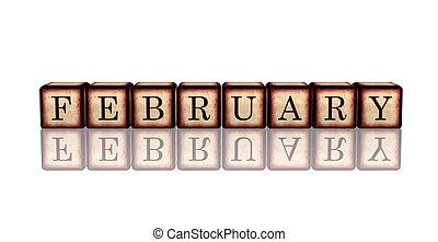 houten, februari, blokje, 3d