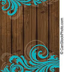 houten, floral, ornament, achtergrond