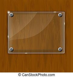 houten, framework., illustratie, glas, vector, textuur