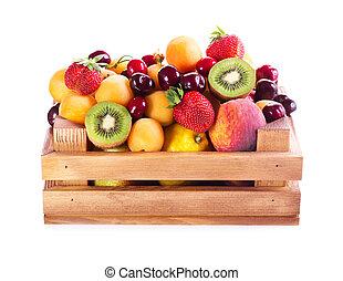 houten, fris, doosje, vruchten