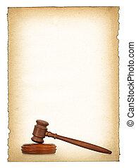 houten gavel, tegen, oud, vieze , papier, achtergrond