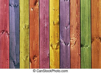 houten, -, gekleurde, textuur, raad