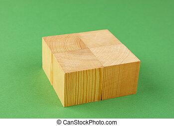 houten, geometrisch, kubus, op, een, groene achtergrond