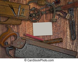 houten, gereedschap, bankje, ouderwetse , woodworking