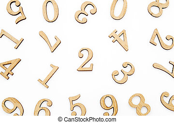 houten, getal, blokjes