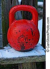 houten, gewichten, sneeuw, rood, bankje