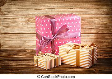 houten, giftdoos, achtergrond, lint