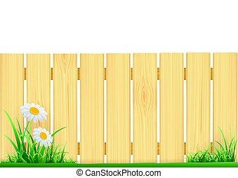houten, gras, groene, omheining