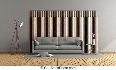 houten, grijs, kamer, levend