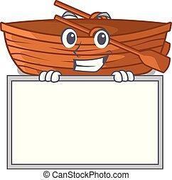 houten, grinning, vorm, plank, spotprent, scheepje