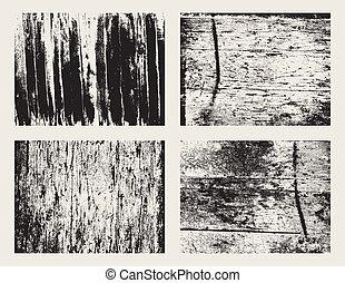 houten, grunge, textuur, set