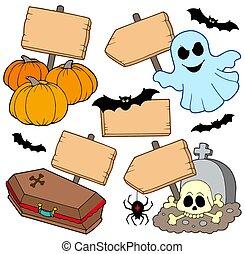 houten, halloween, verzameling, tekens & borden