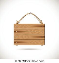 houten, hangend, illustratie, meldingsbord