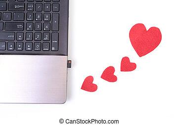 houten, hart, draagbare computer, rode tafel