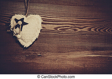 houten, hart, liefde, achtergrond, textuur