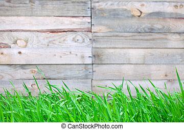 houten hek, met, gras, achtergrond