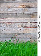 houten hek, met, gras