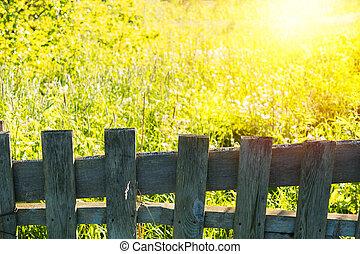 houten hek, met, groene, landschap., natuur, achtergrond