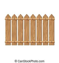 houten hek, vector, illustratie, vrijstaand, op wit,...