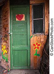 houten huis, entrance.