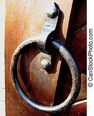 houten huis, handvat, deur