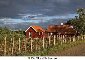 houten, huisen, rood
