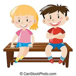 houten, jongen, meisje, zetel, zittende