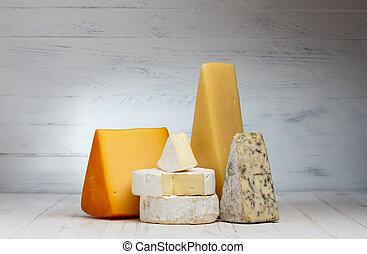 houten, kaas, variëteit, tafel