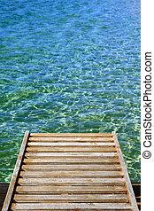 houten, kade, verticaal, oceaan