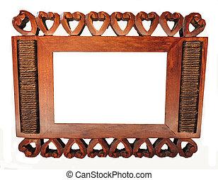houten kader, met, hart