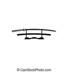 houten, katana, stander, pictogram