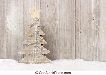 houten, kerstboom, met, twijn, guirlande, in, sneeuw