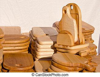 houten, keuken, holle weg, boards.