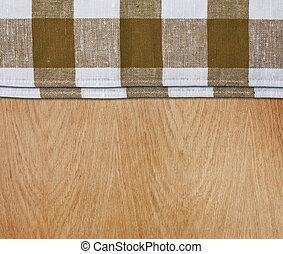 houten, keukenlijst, met, groene, gingham, tafelkleed