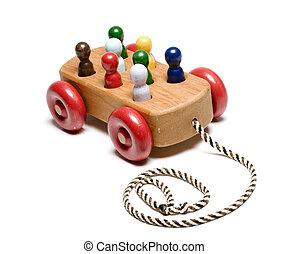 houten, kinderen, trein, met de hand gemaakt, speelbal