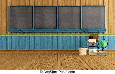 houten, klaslokaal, lege