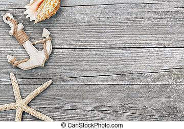 houten, kleine, tv nieuws , achtergrond, seashells