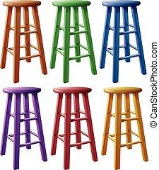 houten, kleurrijke, stalles