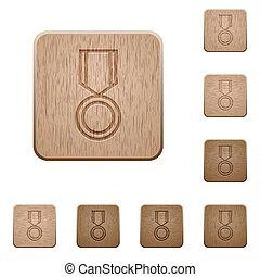 houten, knopen, medaille