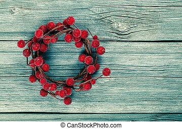 houten, krans, kerstmis, achtergrond